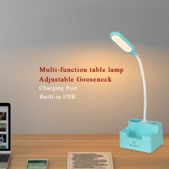 Karmiqi LED Desk Lamp with USB Charging Port 3 Lighting Modes Intelligent Touch-Sensitive Control Panel Adjustable Goose Neck Rechargeable Batteries Eye-Caring Dimmable Table Lamp for Office Studying