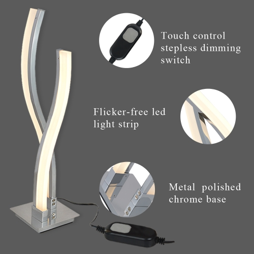 Karmiqi Dimmable LED Desk Lamp,Touch Control Table Lamp,Arc Modern Bedside Lamps for Bedroom Reading Living Room